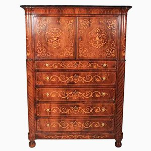 Marquetry Inlaid Rosewood Cabinet, 1880s