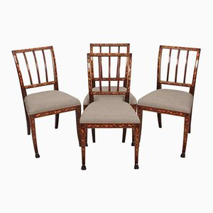 Dutch Marquetry Mahogany Inlaid Chairs, 1790s, Set of 4
