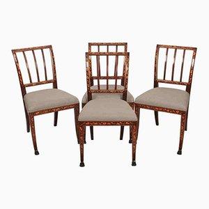 Niederländische Stühle aus Mahagoni mit Intarsien, 1790er, 4er Set