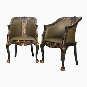 Chinoiserie Leather Library Chairs, 1920s, Set of 2