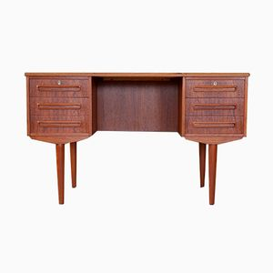 Vintage Danish Teak Desk with 6 Drawers, 1960s