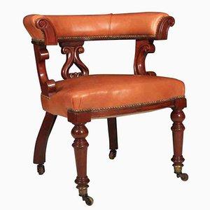 Chaise de Bureau Captain Victorienne en Cuir d'Acajou