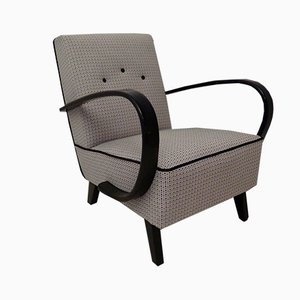 Mid-Century Beech and Fabric Armchairs, 1950s, Set of 2
