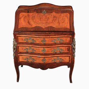 Rosewood and Satinwood Marquetry Inlaid Bombe Bureau, 1900s