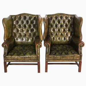 Green Leather Wing Chairs, 1920s, Set of 2