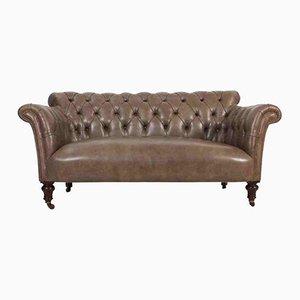 Canapé Style Chesterfield Victorien en Acajou et Cuir