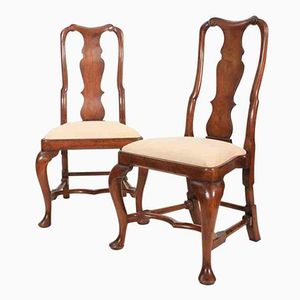 Queen Anne Style Walnut Chairs, 1920s, Set of 2