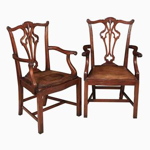 Vintage Chippendale Style Mahogany Armchairs, Set of 2