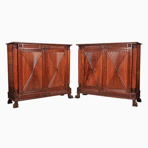 Antique Anglo Indian Padauk Wood Side Cabinets, Set of 2