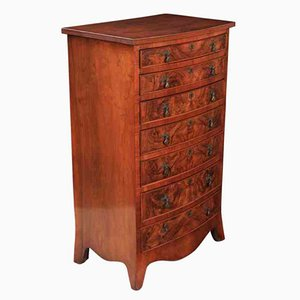 Antique Slim Bow Front Walnut Chest of Drawers