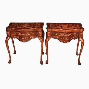 Mesas para cartas holandesas antiguas de marquetería con incrustaciones de nogal. Juego de 2