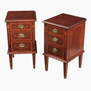 Tables de Chevet Antiques en Marqueterie d'Acajou, Set de 2