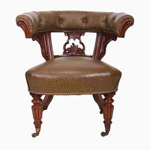 Silla de escritorio antigua de caoba y cuero de avestruz, década de 1840
