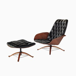 Mid-Century Mr Chair Lounge Chair & Ottoman by George Mulhauser for Plycraft, Set of 2