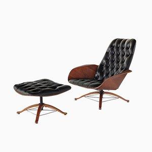 Mid-Century Mr Chair Sessel und Fußhocker von George Mulhauser für Plycraft, 2er Set