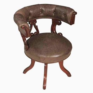 Drehbarer William IV Schreibtischstuhl aus Mahagoni & Leder