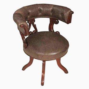 Silla de escritorio giratoria William IV de caoba y cuero