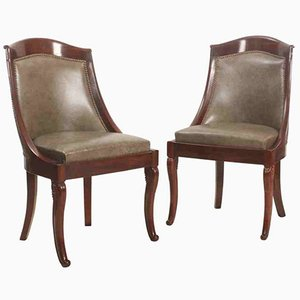 Antique Biedemier Library Chairs, Set of 2