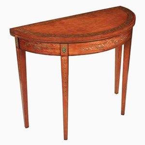 Antiker dekorativer Halbmond-Kartentisch aus Seidenholz