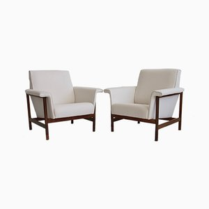 Mid-Century Italian White Armchairs, 1960s, Set of 2