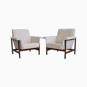 Mid-Century Italian White Armchairs, 1960s, Set of 2