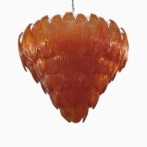 Orange Murano Glass Chandeliers, 1940s