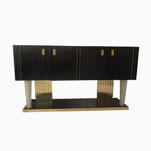 Art Deco Italian Black Wood, Brass & Murano Glass Sideboard, 1920s