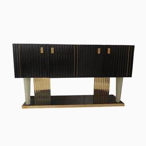 Art Deco Italian Black Wood, Brass & Murano Glass Sideboard, 1920s