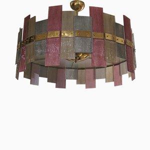 Lampadario in vetro di Murano e ottone, anni '70