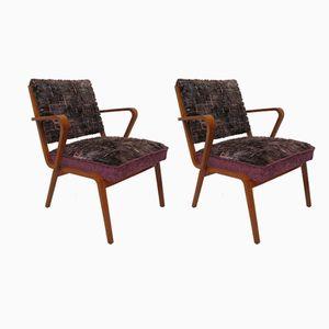 Italienische Mid-Century Sessel mit Gestell aus geschnitztem Holz, 1950er, 2er Set