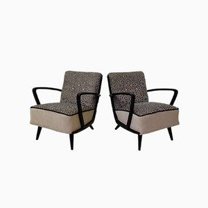 Mid-Century Velvet and Beech Wood Armchairs, 1950s, Set of 2