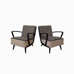Mid-Century Velvet and Beech Wood Armchairs, 1950s, Set of 2