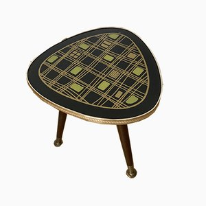 Dutch Patterned Glass Tripod Side Table, 1950s