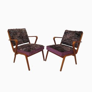 Mid-Century Curved Wood Armchairs, 1950s