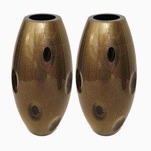 Jarrones de cristal de Murano, años 70. Juego de 2
