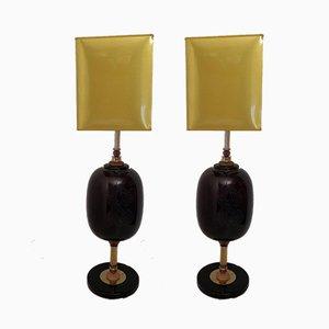 Lámparas de mesa de cristal de Murano, años 70. Juego de 2