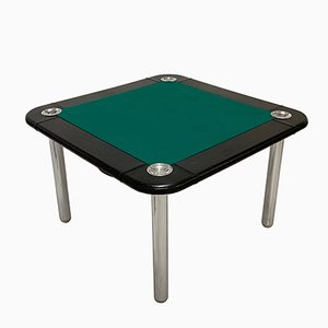 Mesa de juegos de cuero y acero cromado de Zanotta, años 60