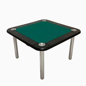 Tavolo da gioco in acciaio cromato e pelle di Zanotta, anni '60