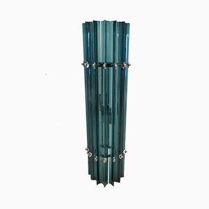 Lámpara de pared de cromo y cristal de Murano azul, años 70