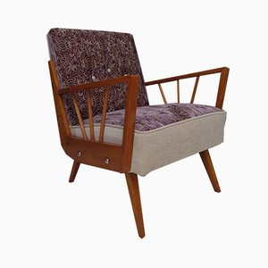 Mid-Century Embroidered Velvet and Wood Armchairs, 1950, Set of 2