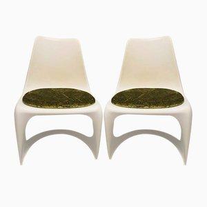Sedie cantilever nr. 290 in plastica bianca di Cado, anni '70, set di 2