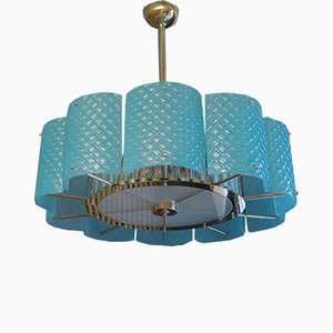 Italian Murano Glass and Brass Chandelier, 1950s