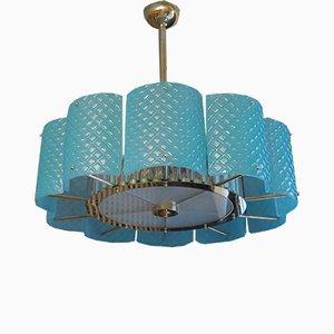 Lámpara de araña italiana de cristal de Murano y latón, años 50