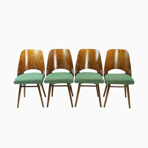 Mid-Century Czech Walnut Chairs by TON, 1960s, Set of 4