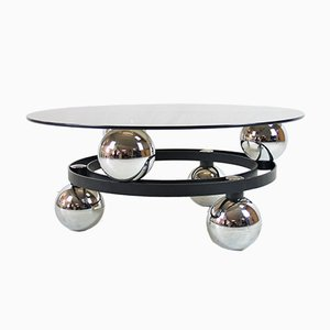 Vintage Swiss Space Age Smoked Glass Coffee Table, 1970s