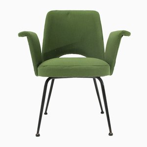 Butaca italiana Mid-Century verde, años 50