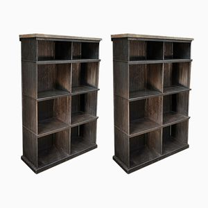 Corrugated Iron & Pine Shelves from Strafor, 1920s, Set of 2