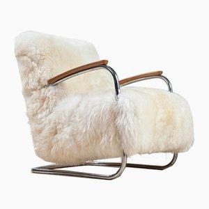 Butaca holandesa tubular de piel de oveja blanca de De Cirkel, años 30