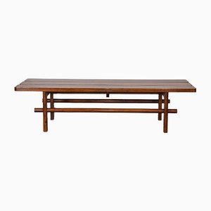 Mid-Century Teak Slatted Low Bench Seat or Coffee Table, 1950s
