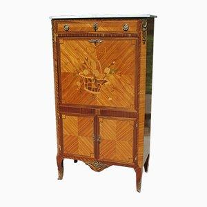 Secretaire vintage in stile Luigi XV intarsiato